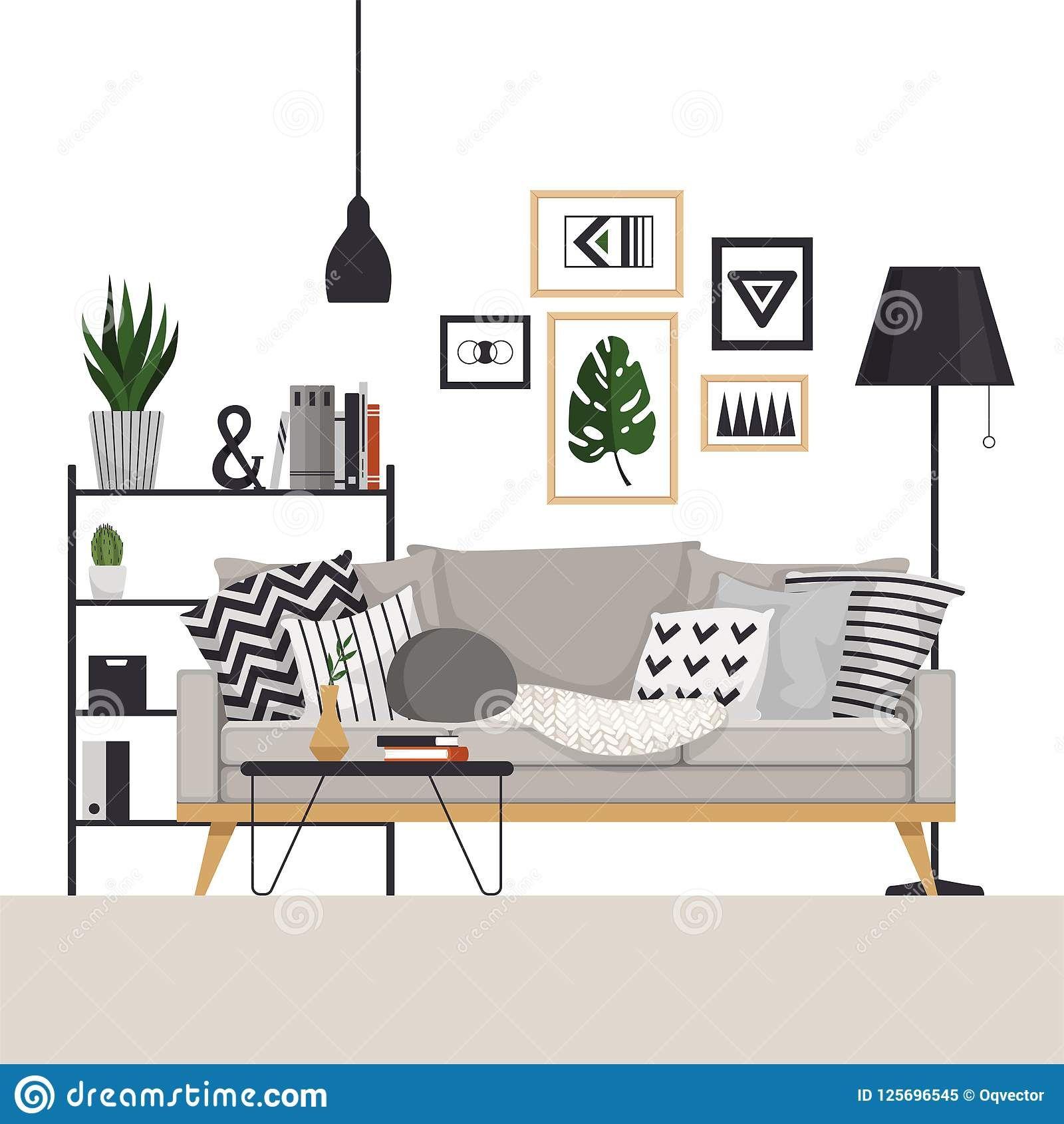 Scandinavian Style Living Room Vector Illustration Scandinavianstyle Scandinavianinterior Living Room Vector Interior Design Vector Interior Illustration