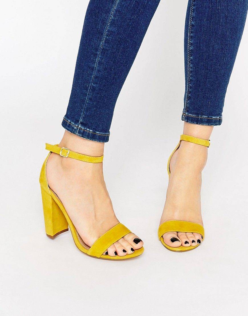 Image 1 of Steve Madden Carrson Yellow Suede Block Heel Sandals