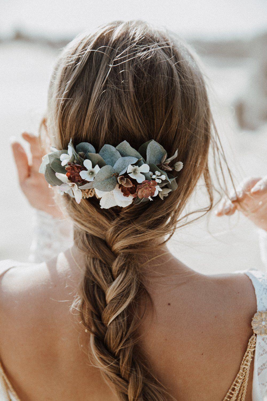 Hochzeits Haarkamm mit Eukalyptus, weißen Blüten und kleinen ...