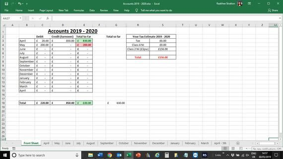 Self Employed 2019 2020 Simple Accounts Spreadsheet For Small Business Owners Ideal For Smes Accounting Self Business