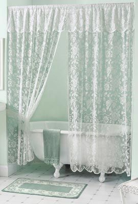 Beautiful Shower Curtains W Valance Rose Lace Bath Shower Curtain