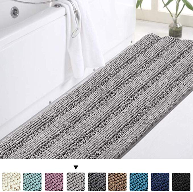 Amazon Com Luxury Bath Runner For Bathroom Gray Bathroom Rug 47 X 17 Inches Sha Amazoncom Bath Bat In 2020 Bathroom Rugs Grey Bathroom Rugs Long Bathroom Rugs