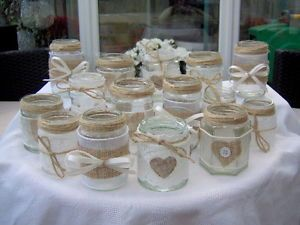 Shabby Chic Vintage Wedding Decorated Glass Jar Tea Light Holders