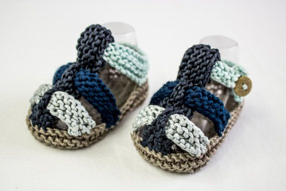 Hand Knit Baby Boy Summer Sandals With Straps And Button Closure In