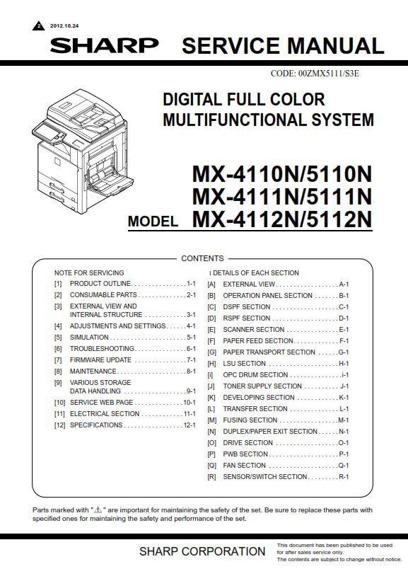 Sharp Mx 4110n 5110n Copier  Printer Original Service