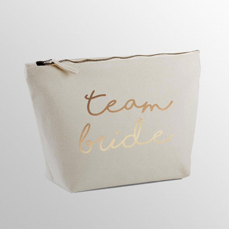 Team Bride, Hen, Make Up Bag, Cosmetic Case, Accessory