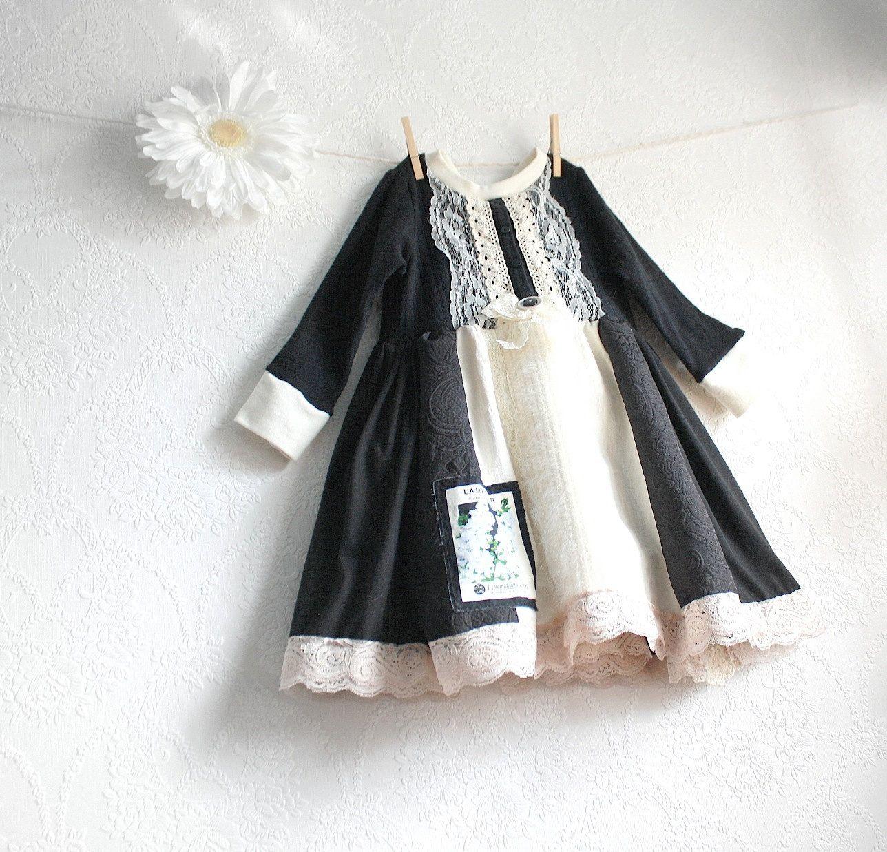 Girl S Black Dress 5t Toddler Clothing Cream Lace Birthday Etsy Girls Black Dress Little Girl Dresses Clothes [ 1237 x 1288 Pixel ]