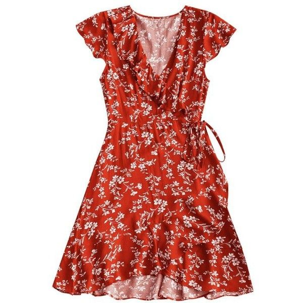 2f43d667d399 Tiny Floral Ruffle Mini Wrap Dress Brick-red M ❤ liked on Polyvore  featuring dresses, ruffle wrap dress, short floral dresses, red ruffle dress,  ...