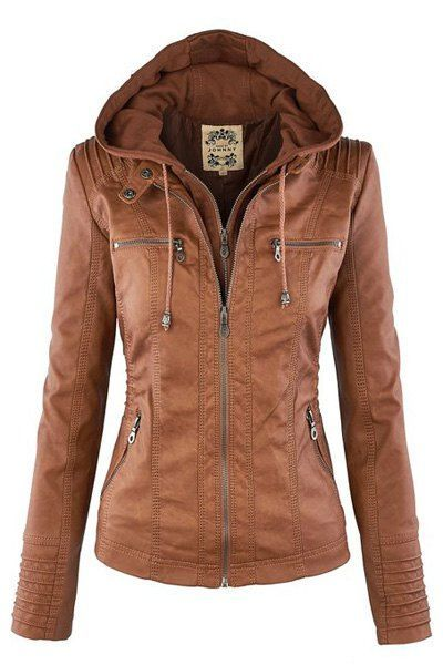 Stylish Convertible Collar Long Sleeve Solid Color Zippered Jacket ...