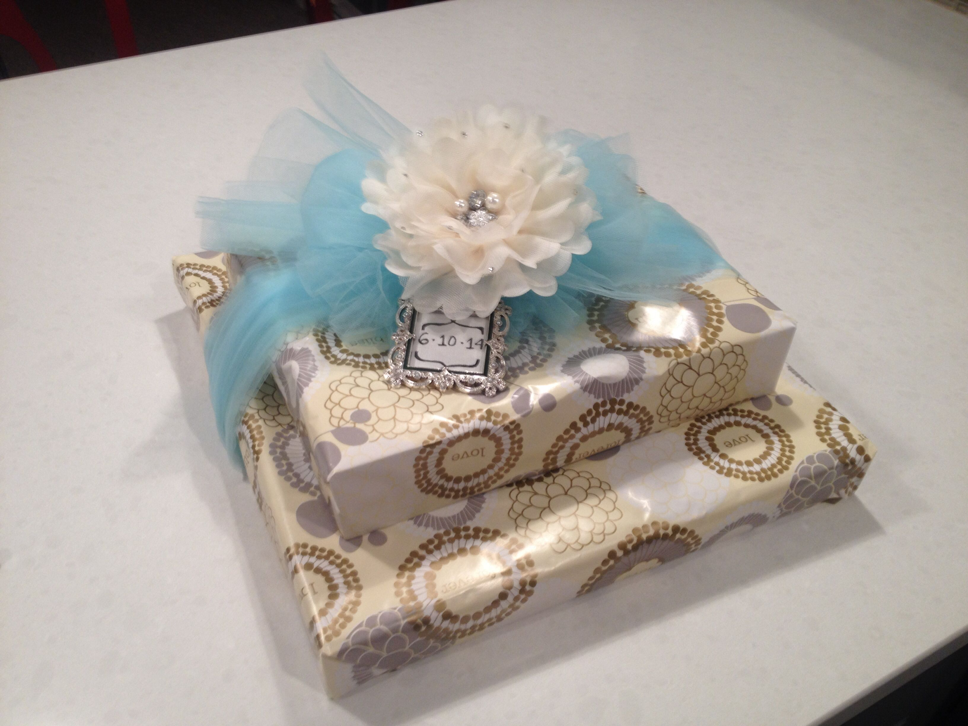 Bridal Shower Gift Wrapped With Wedding Date On Tiny Frame