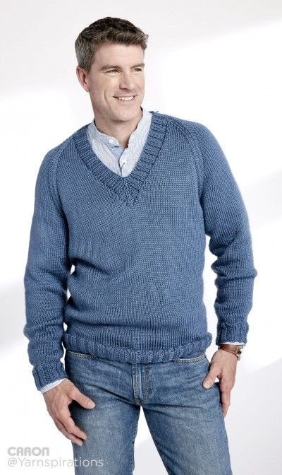 fb497187a FREE PATTERN...Adult Knit V-Neck Pullover - Patterns ...