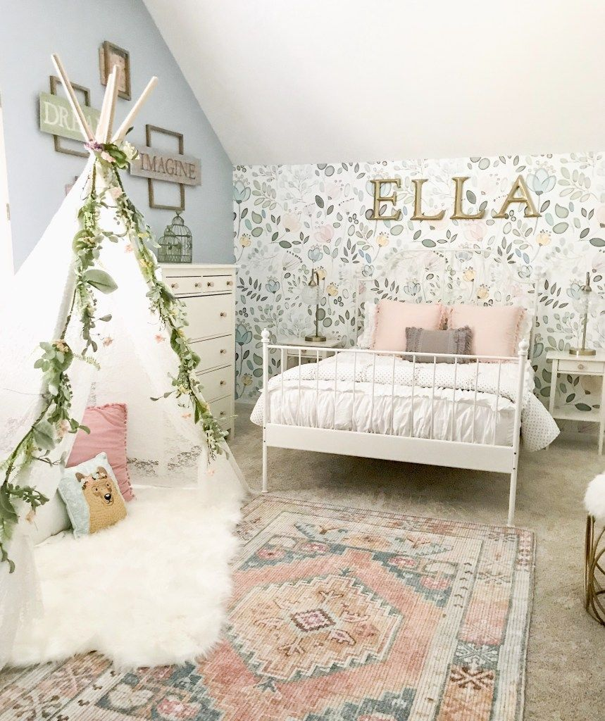 Little Girl Decor And Bedroom Reveal Bless This Nest Big Girl Bedroom Ideas Wallpaper In Girl S Girls Bedroom Makeover Big Girl Bedrooms Girl Bedroom Decor
