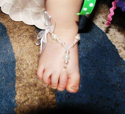 Flower Pearl Beads Crib Barefoot Ring Anklet Sandals For Kids Toddler Baby Girls