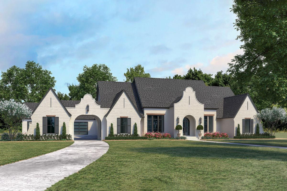 Plan 56488sm Gorgeous One Level Ranch Home Plan With Porte Cochere And Workshop Luxury Ranch House Plans Ranch House Plans Architectural Design House Plans