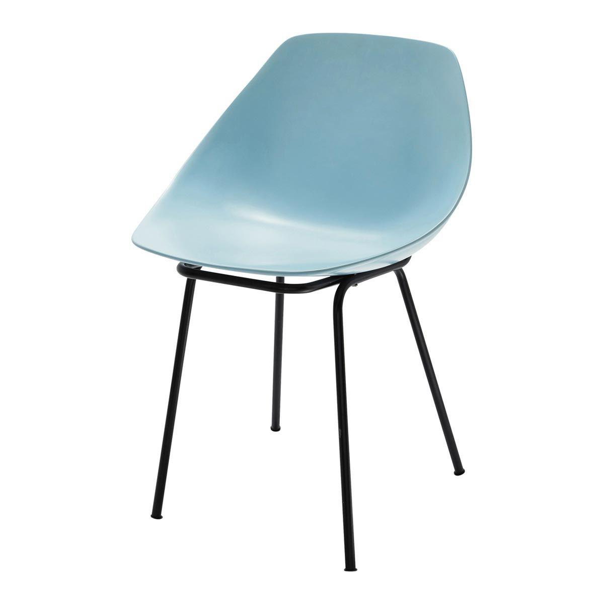 maison du monde chaise guariche en fibre de verre et mtal bleue coquillage