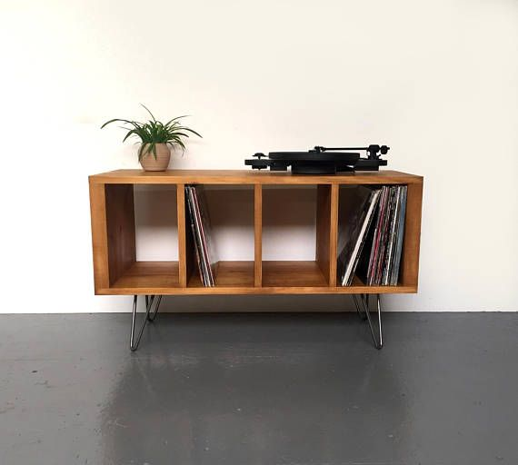 sonor small record player or tv stand with vinyl storage solid wood on mid century hairpin legs. Black Bedroom Furniture Sets. Home Design Ideas