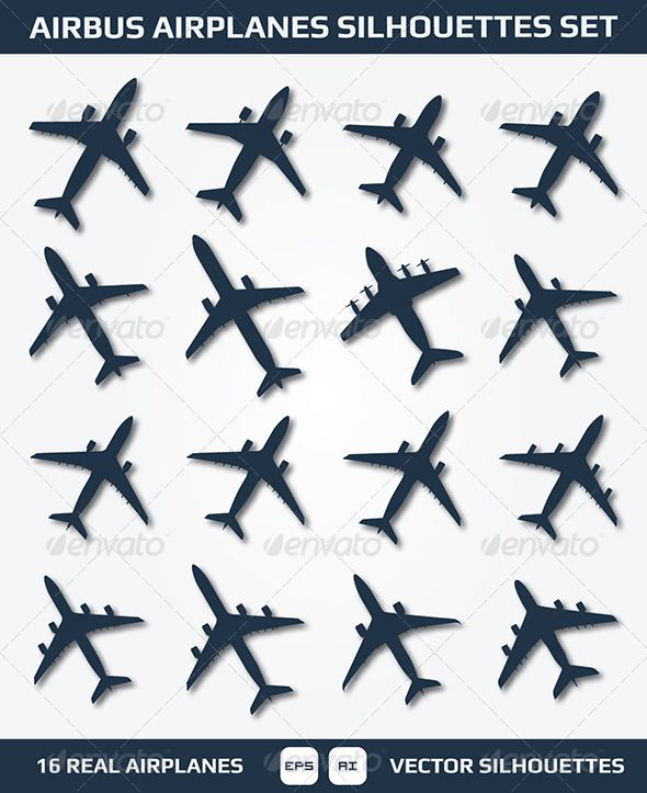 Airbus Airplanes Silhouettes Set Objects Vectors Airplane