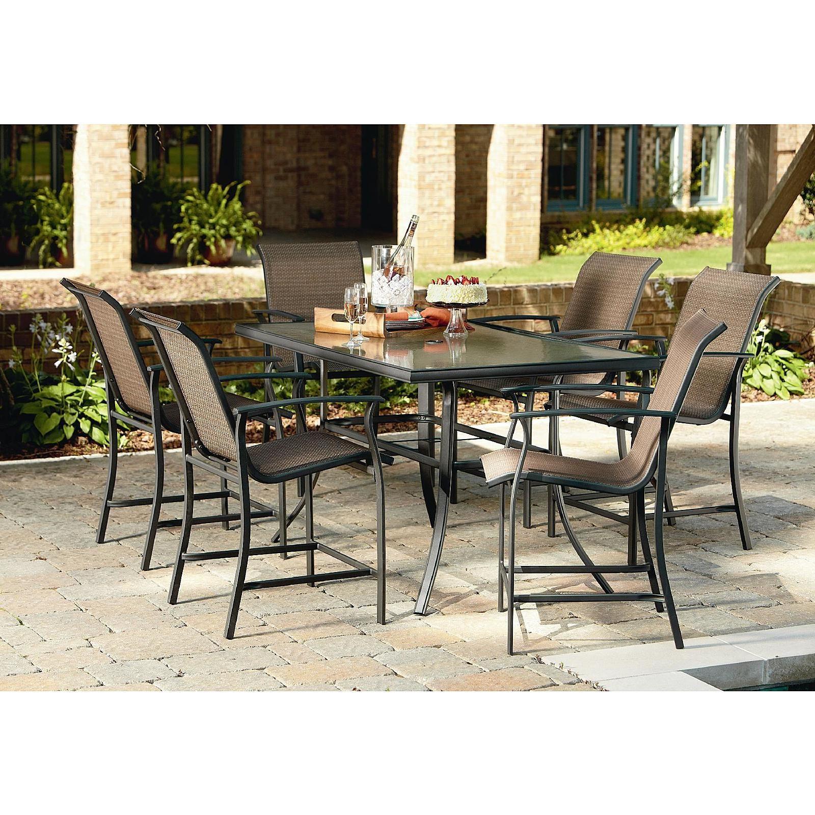 Garden Oasis Harrison 8 Piece Sling High Dining Set - Outdoor