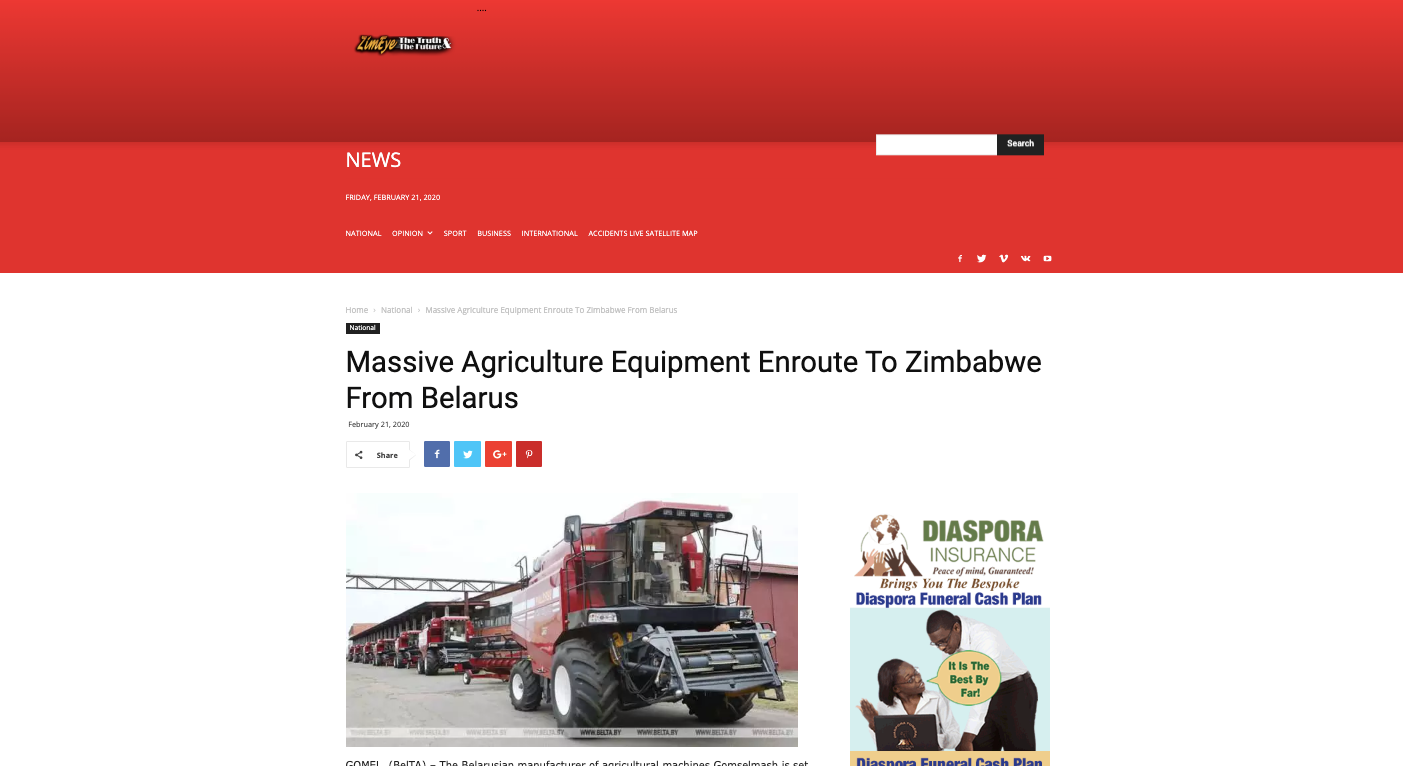 Massive Agriculture Equipment Enroute To Zimbabwe From Belarus