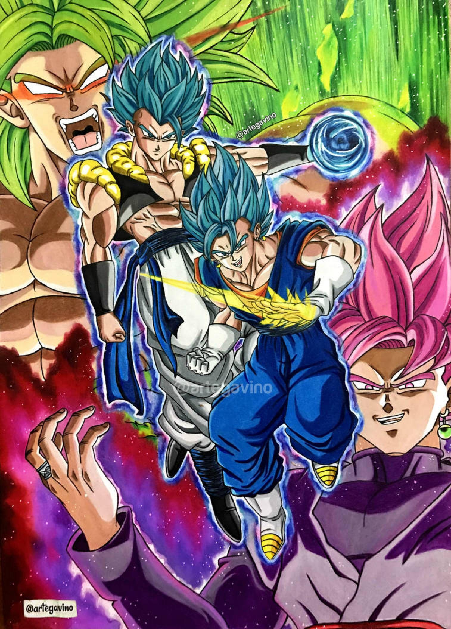 Gogeta y Vegetto VS Broly y Goku Black Rosse by Artegavino on DeviantArt