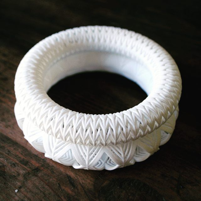 Raw 3D prints for my Chevron and Flower Chevron bangles. Pre dying!  #3dprinting #jewellerydesign #jewelrygram #jewelry #theresaburgerjewellery #3dprintedjewellery #nylon #3dprintedjewellery by theresaburger