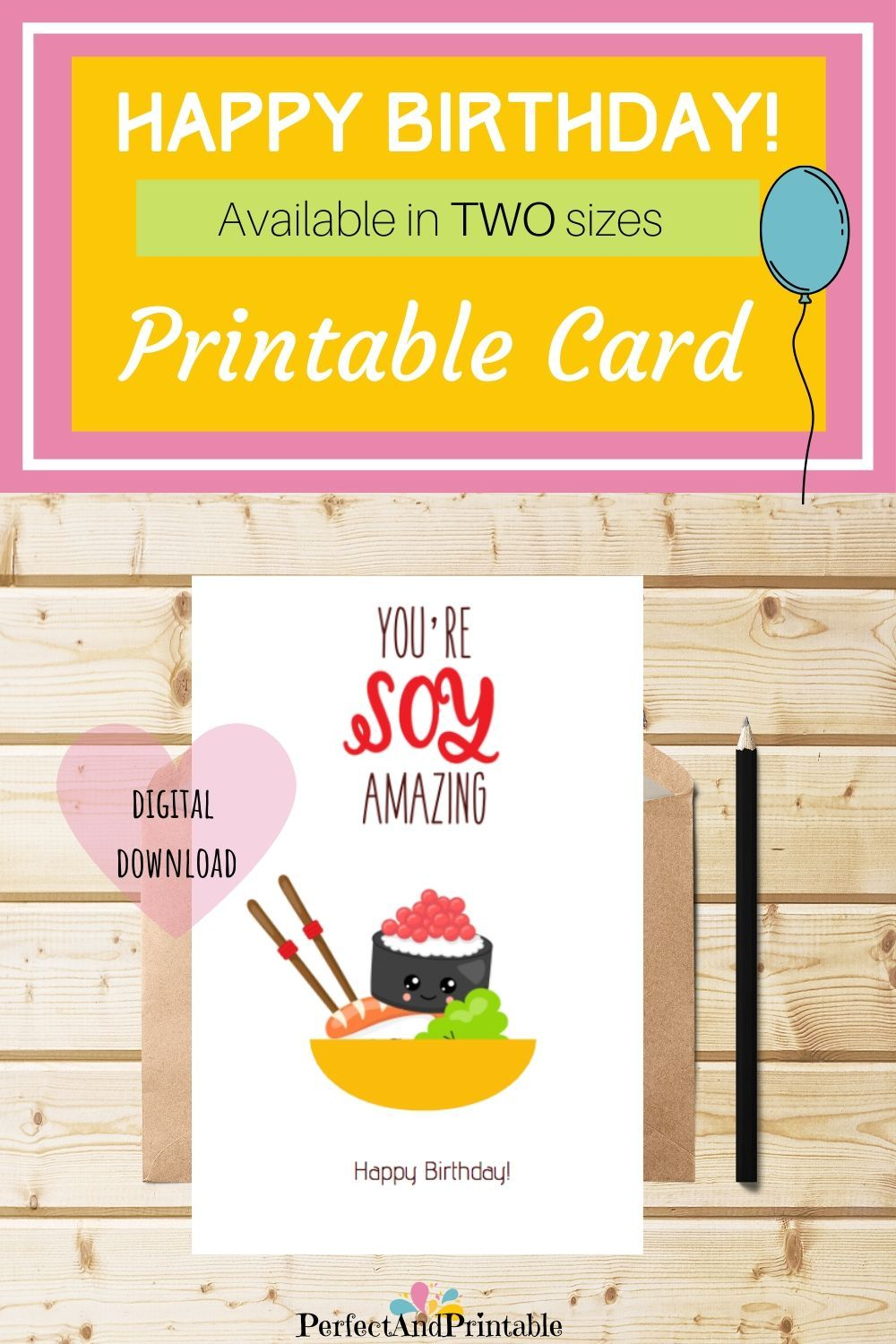 Sushi Lover Birthday Cute Pun Card Fun Colourful Quirky Etsy Digital Birthday Cards Birthday Cards For Friends Pun Card