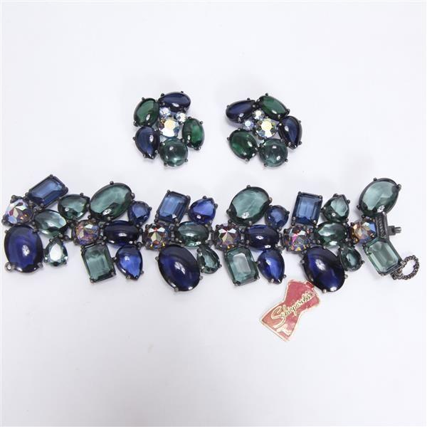 Schiaparelli Costume Jewelry 2pc Bracelet Clip Earrings