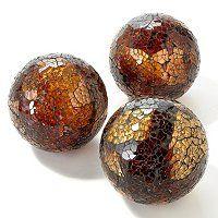 Mosaic Glass Decorative Spheres Set Of Three Shopnbc Com Safari Home Decor Decorative Spheres Mosaic Glass