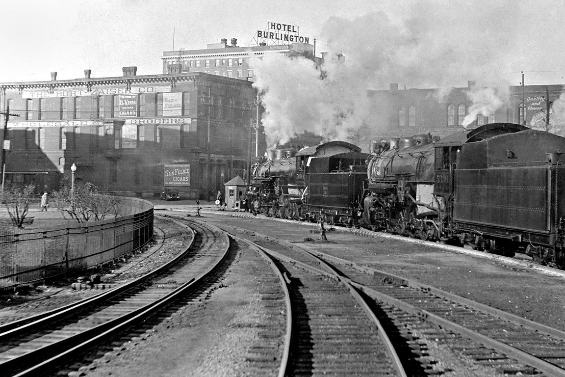 Double Headed Westbound Steam Freight Train On The Chicago