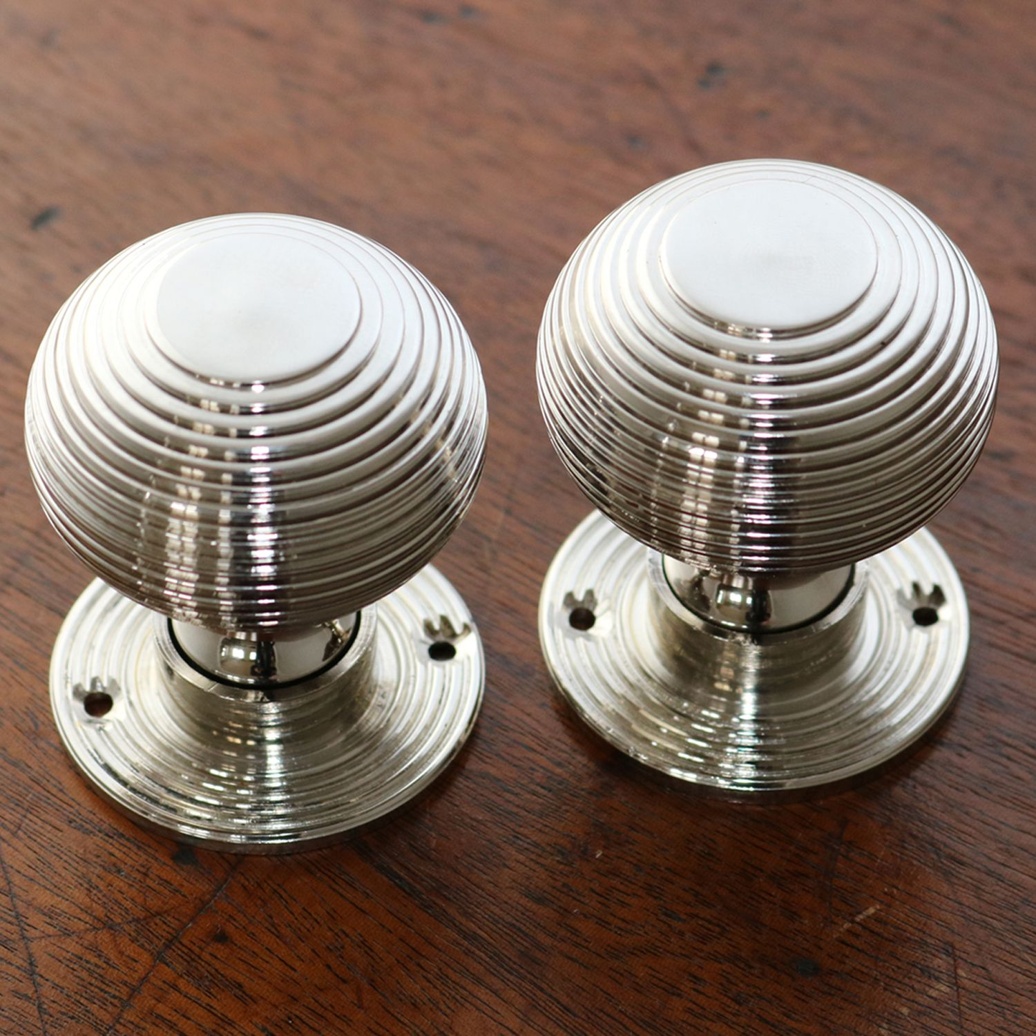 A Pair Of Solid Polished Nickel Beehive Door Knobs. Faithful And True  Reproduction Turned From A Solid Brass Bar Suitable For Use With Mortice Or  Rim Locks ...