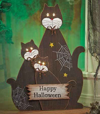 Black Cats Lighted Halloween Scene Halloween Scene Halloween Decorations Halloween Lights