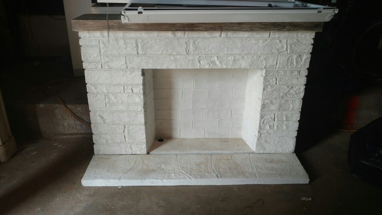 Mid Century Plaster Over Fiberglass Faux Fireplace Looks Unbelievably Like Real Brick Even Up Close Perfec Faux Fireplace Electric Fireplace Insert Fireplace