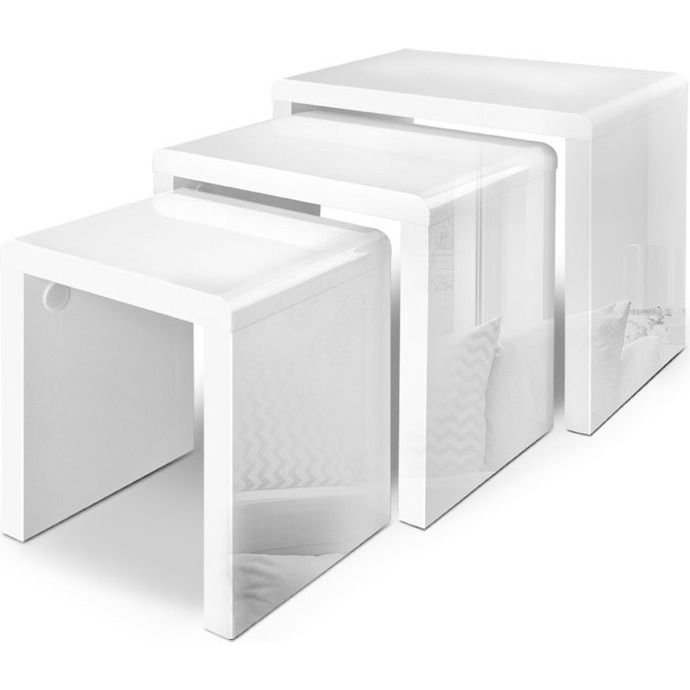 3pc contemporary nesting tables in high gloss white high gloss 3pc contemporary nesting tables in high gloss white watchthetrailerfo