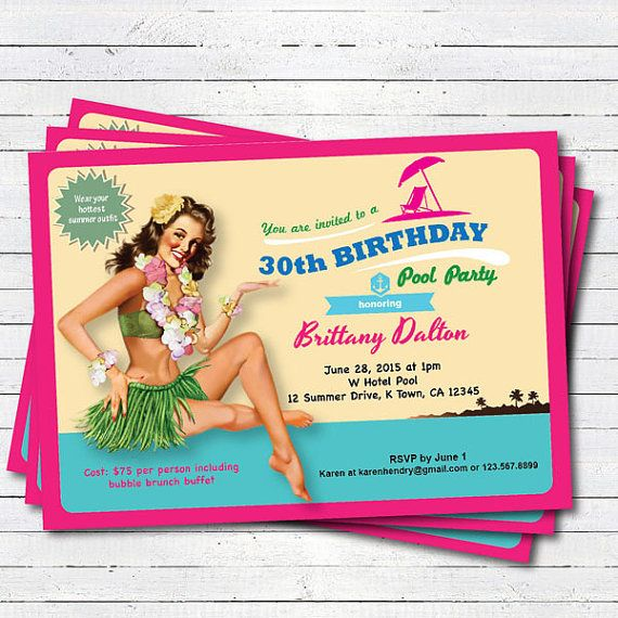 Hawaii 30th Birthday Pool Party Invitation Vintage Pin Up Girl Woman Retro Beach Print
