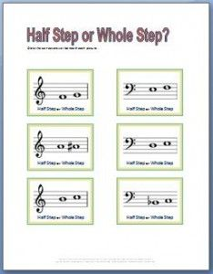 Free Printable Piano Worksheets for learning half steps and whole ...