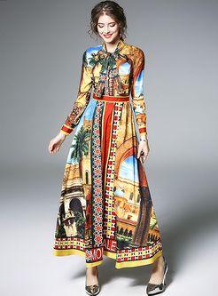 0309fe1cf0 Vintage Multicolor Print Tied-collar Maxi Dress