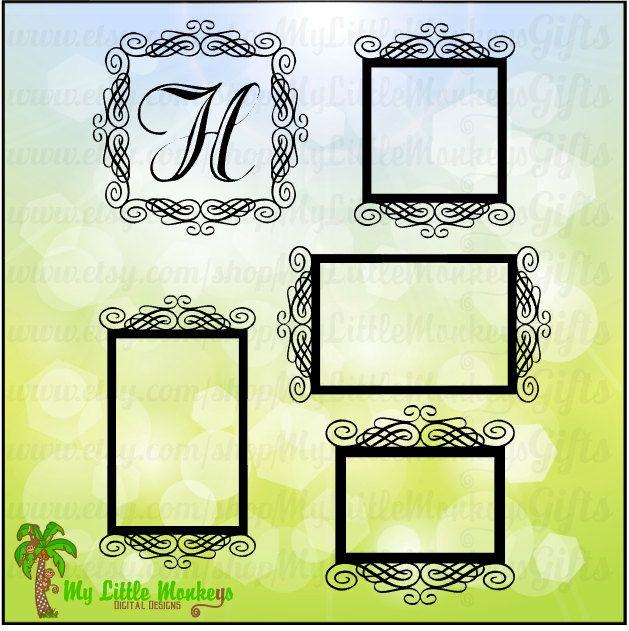 Scroll Frame Set Design Digital Clipart Instant Download SVG & JPEG File - pinned by pin4etsy.com