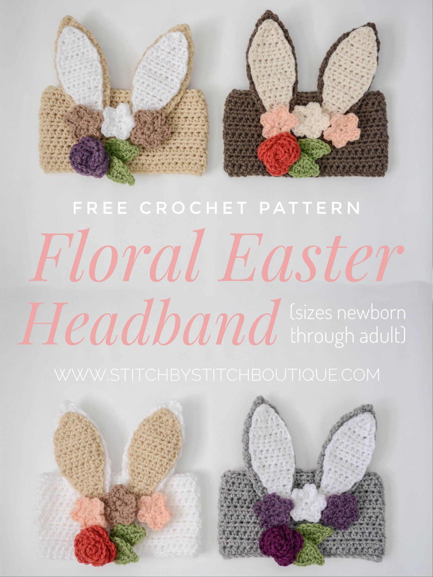 Free Crochet Floral Easter Headband (Newborn-Adult) | Accesorios ...