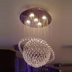 [ $26 OFF ] Sphere Style Crystal Chandelier Glass Globe Chandeliers Modern Ceiling Crystal Chandelier Rain Drop Lights Led Hanging Lights
