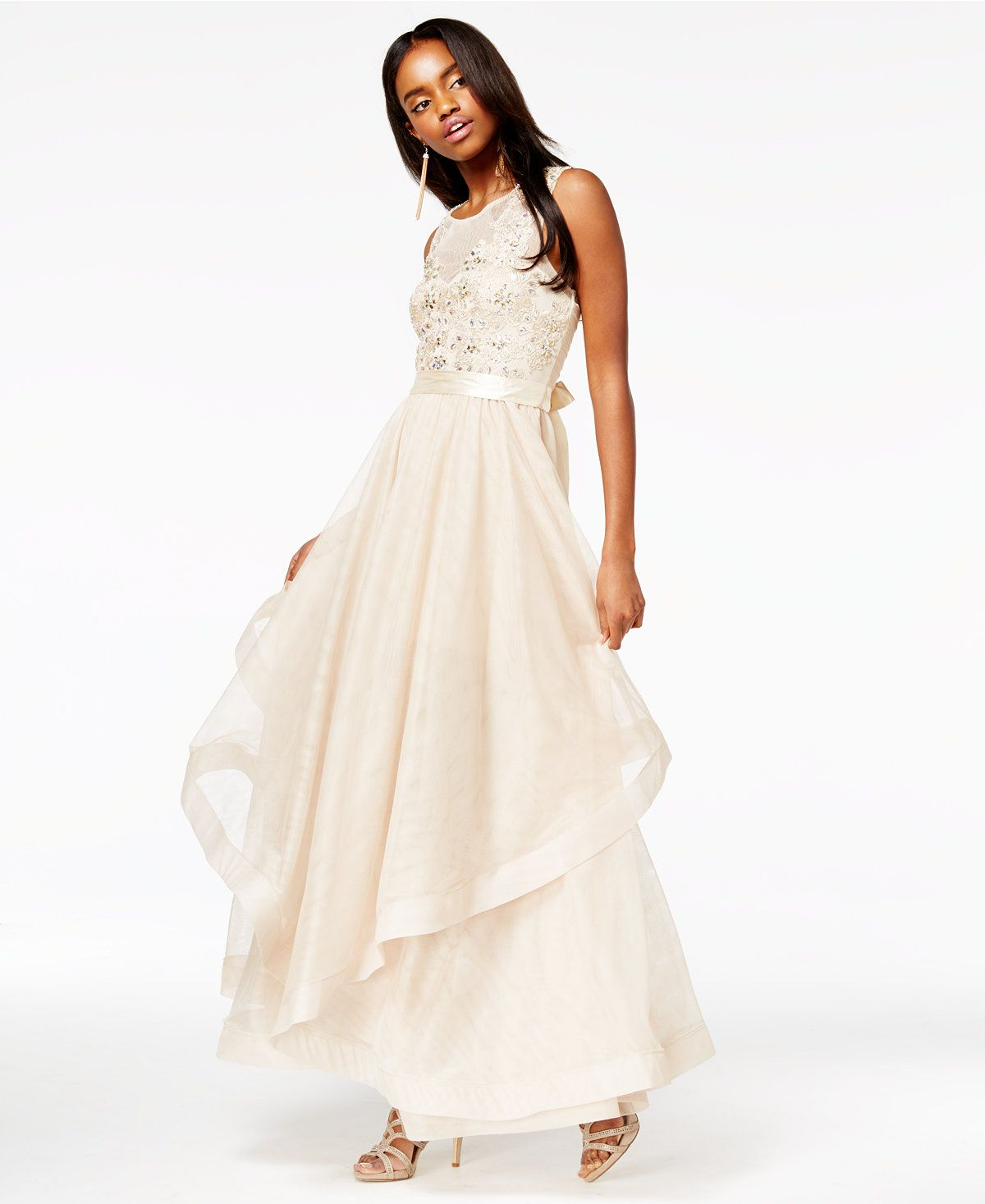 Say yes to the prom juniors embellished layered gown a macys say yes to the prom juniors embellished layered gown a macys exclusive ombrellifo Images