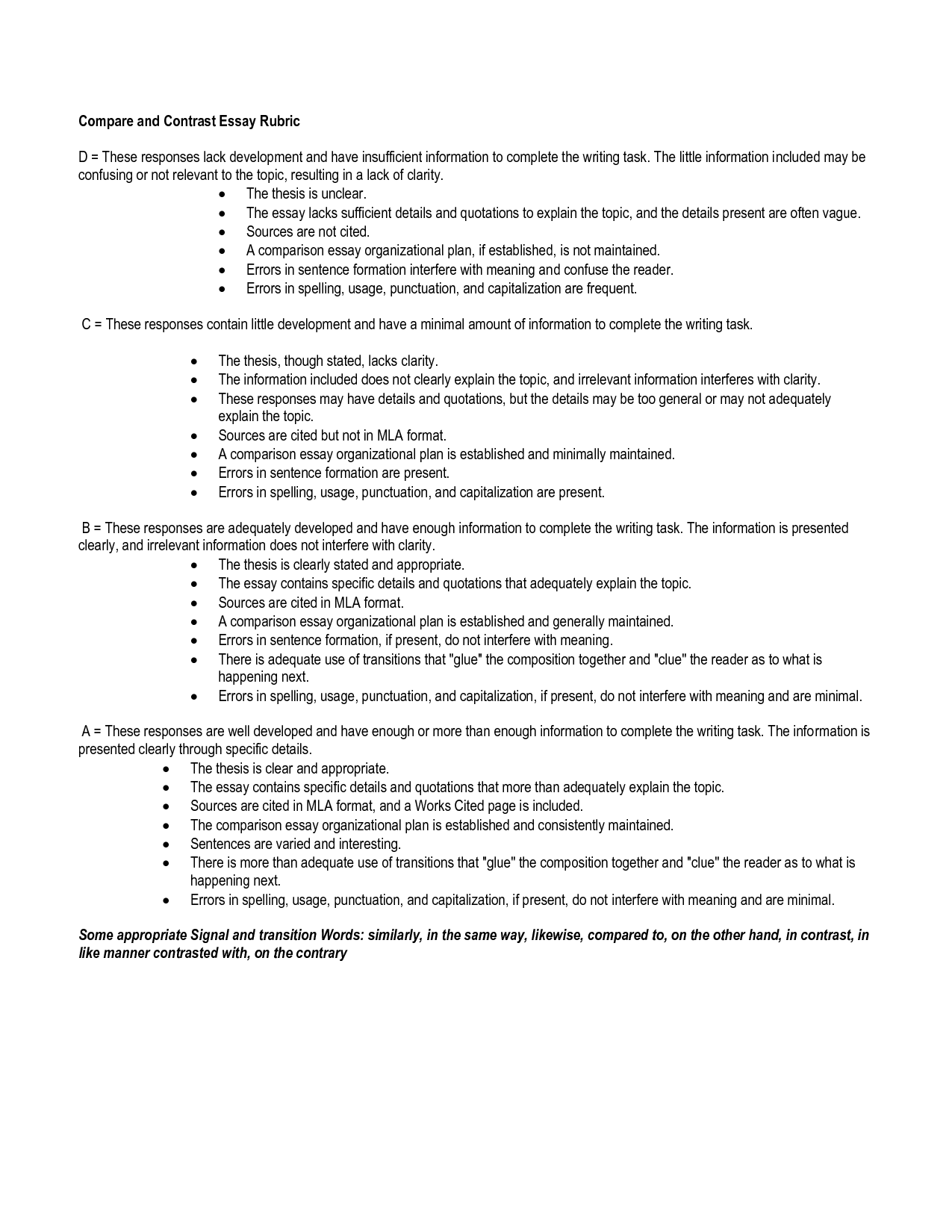 Compare And Contrast Essay Outline Template