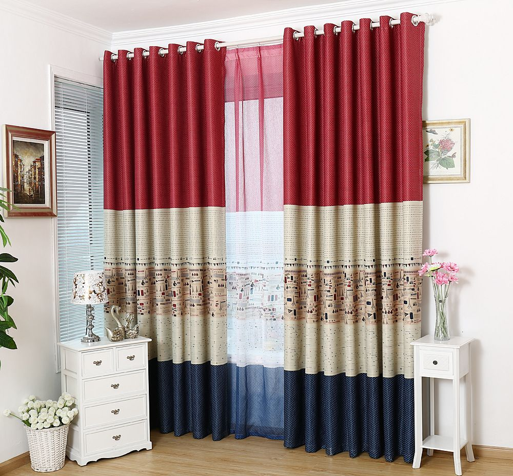 High Quality False Mosaic Mediterranean Style Eiffel Tower Curtains For Bedroom Living  Room Physical Green Shade Blinds E