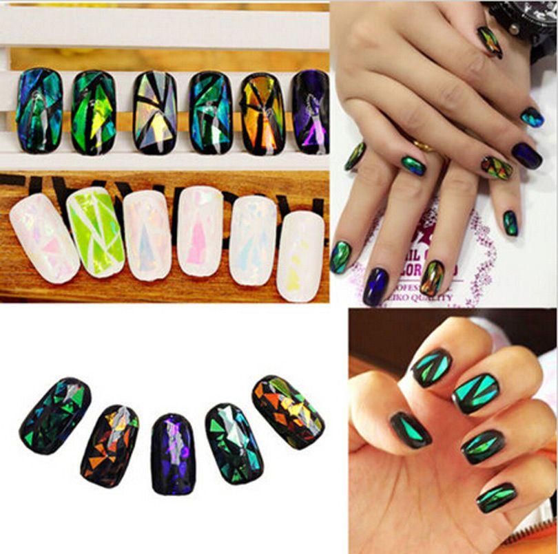 Fashion 5 Colors Broken Glass Foils Finger DIY Nail Art