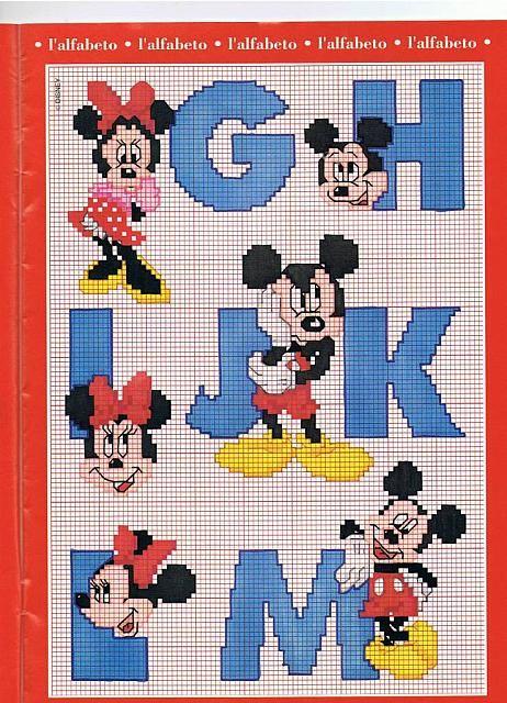 Alfabeto Punto Croce Con Disney Topolino E Minnie 2 Alfabeto