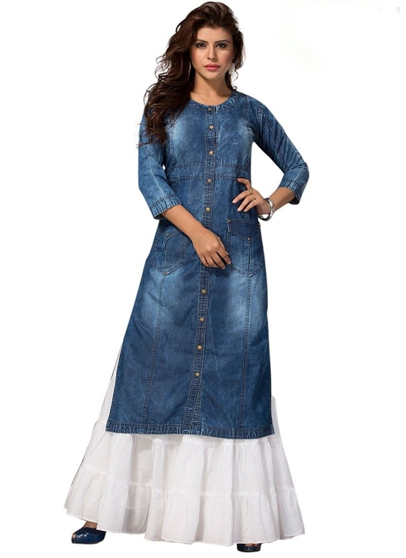 0cdab2ab901 Shop Online Blue Denim Fabric  LongKurti