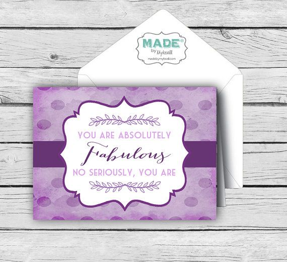 YOU ARE FABULOUS Vintage Purple Card Set, Motivational Cards - purple note cards