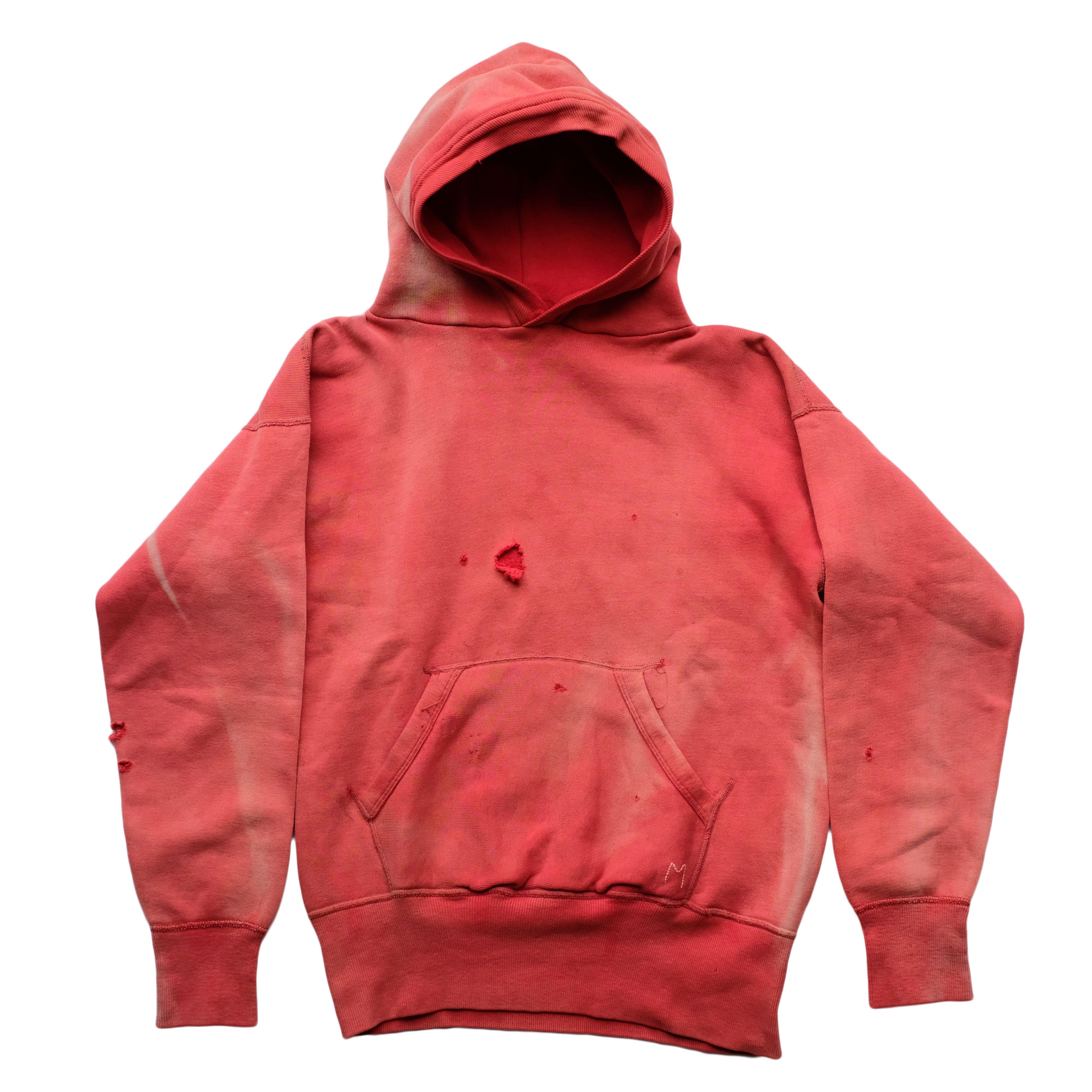 50s Vintage Sun Faded Red Hoodie Hoodies Red Hoodie Vintage Hoodies