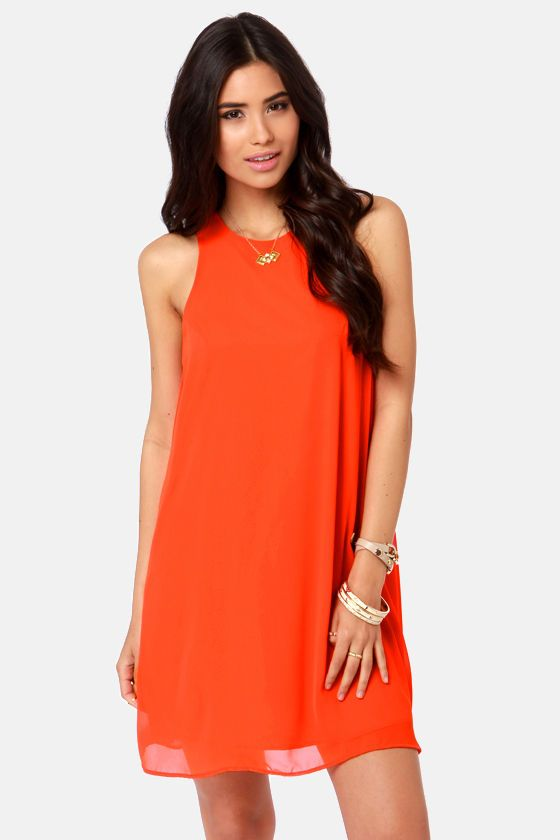 6ad29634ffb Cute Orange Dress - Chiffon Dress - Shift Dress -  37.00 lulus online