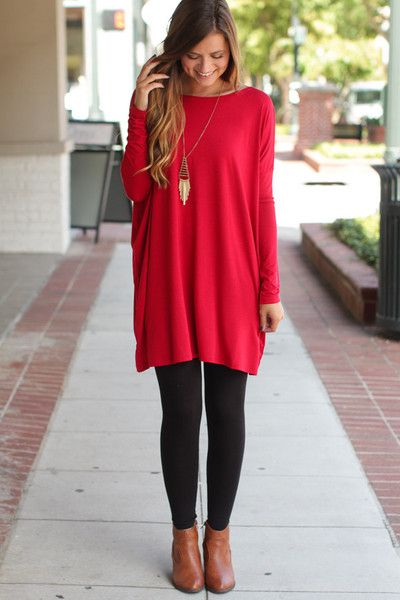 6dec0c67ad8 Dark Red Piko Tunic- What makes it a tunic (besides length)? Leggings! Get  this look at the best price from www.overstockboutiques.com.