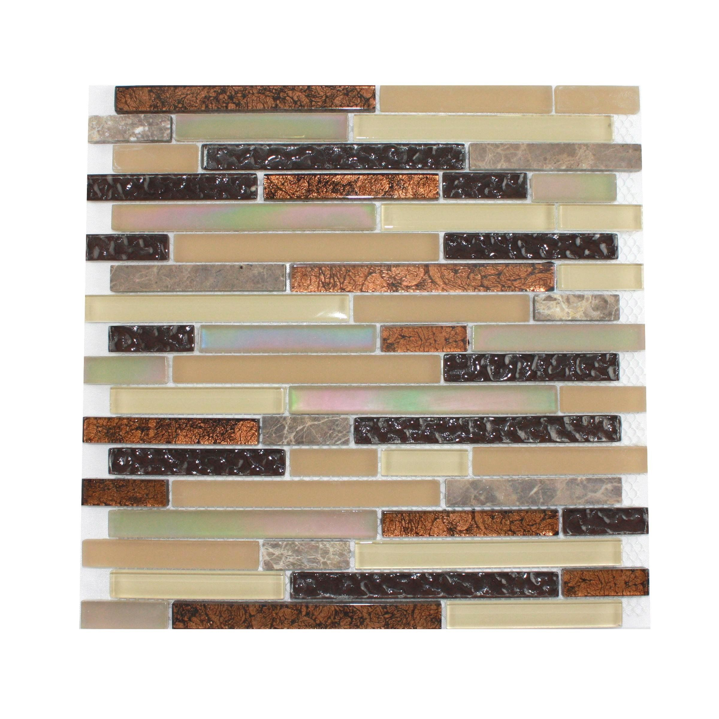 Glass Tile and Stone Copper Strips Mosaic Backsplash Glass Tiles